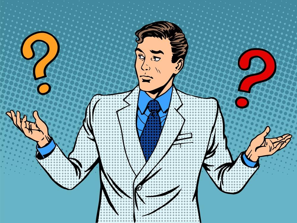 Questions businessman misunderstanding pop art retro style